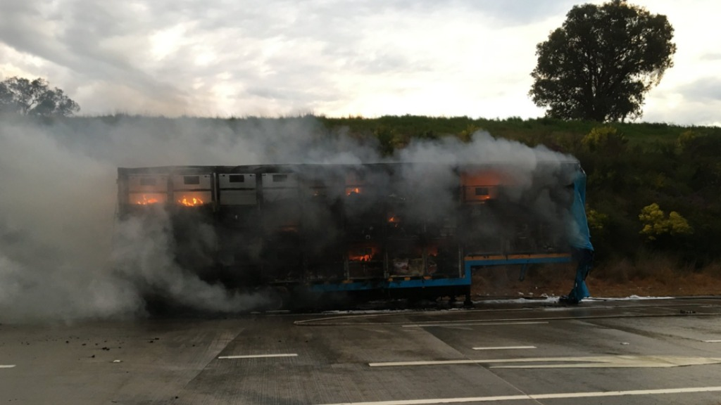 Part of the Hume Highway closed in Woomargama after truck fire