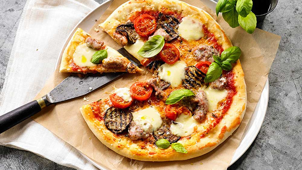 Pizza Siciliana (eggplant, sausage, cherry tomatoes)