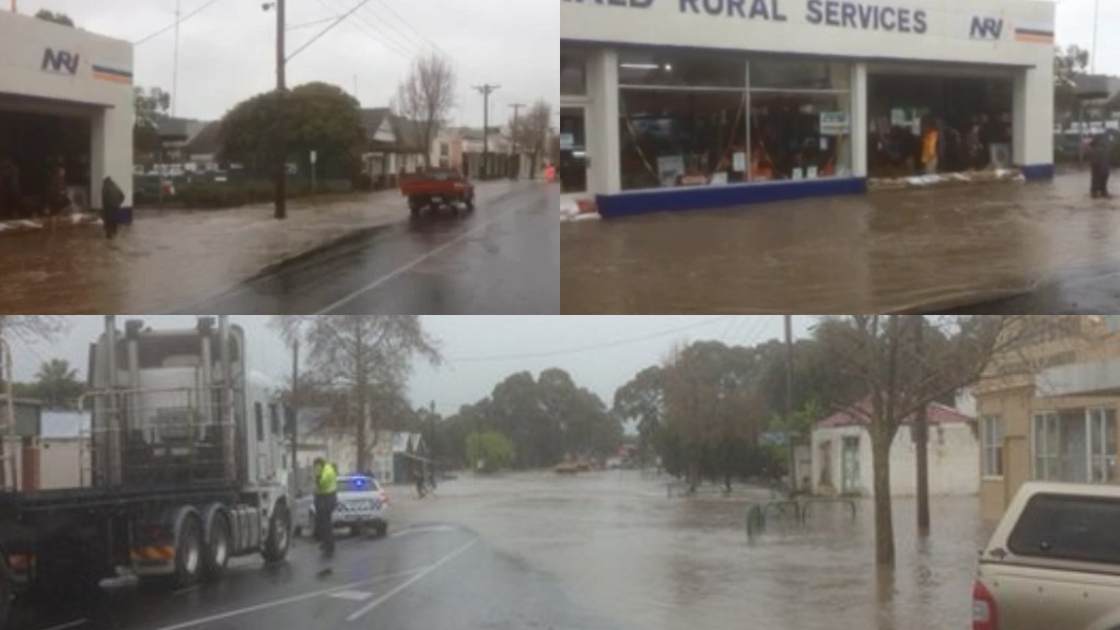 The township of Coleraine, in Victoria's north-west, has been battered by heavy rain and flash flooding. (9NEWS)