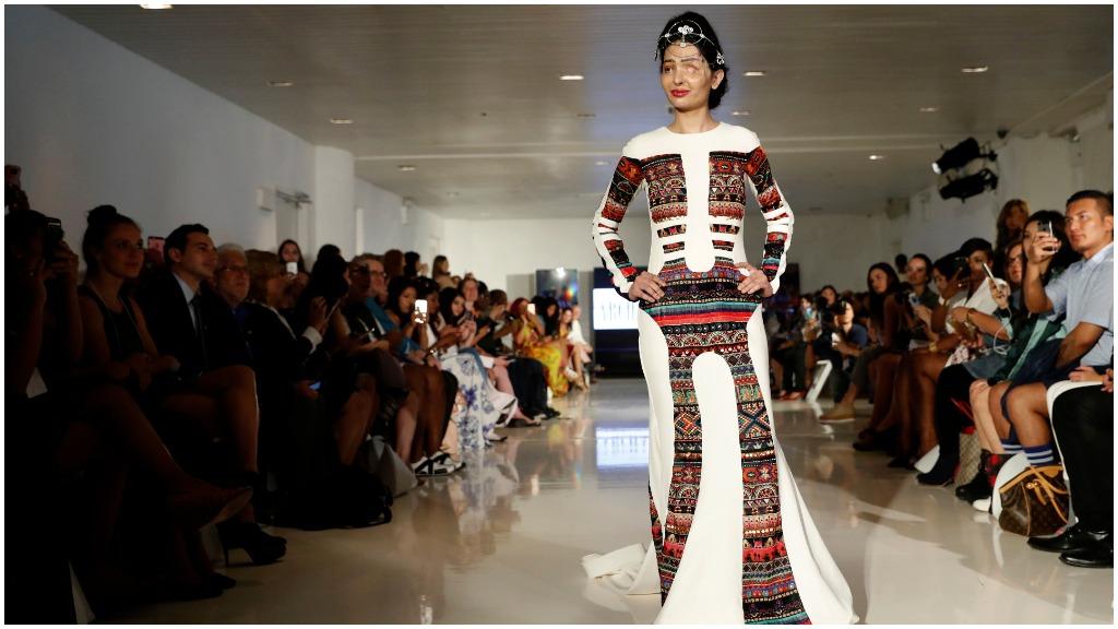 Acid attack survivor walks runway at New York Fashion Week
