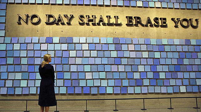 """Sophie, Countess of Wessex, pauses at Spencer Finch's """"Trying To Remember the Color of the Sky on That September Morning"""" during a visit to The National September 11 Memorial & Museum in New York in 2015. (AAP)"""