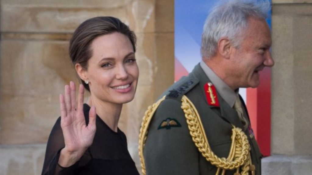 Jolie arrived at the summit alongside Britain's Vice Chief of the Defence Staff General Gordon Messenger. (AFP)