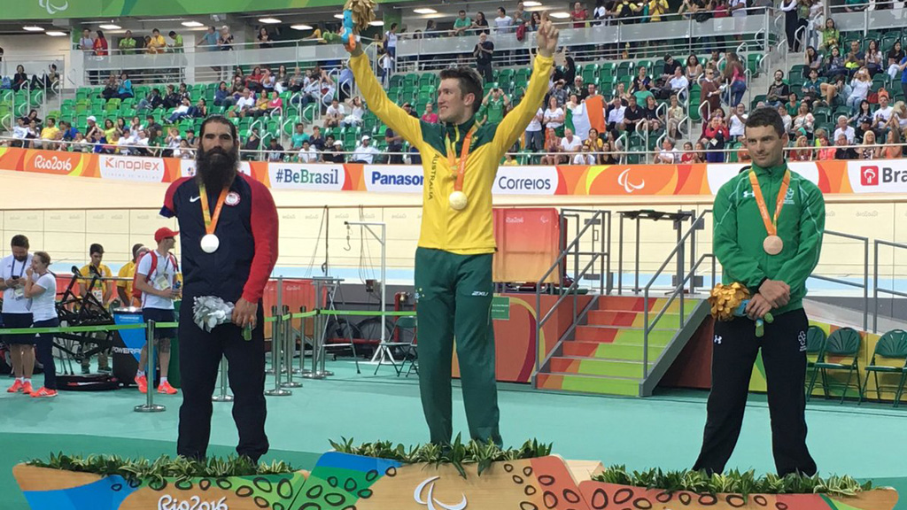Cyclist David Nicholas wins Paralympic gold in the C3 3000m individual pursuit event
