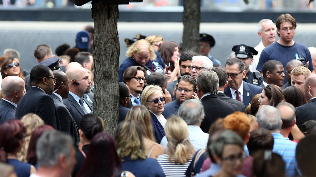 """Hillary Clinton also attended the commemorations but left early after feeling """"unwell"""". (AFP)"""