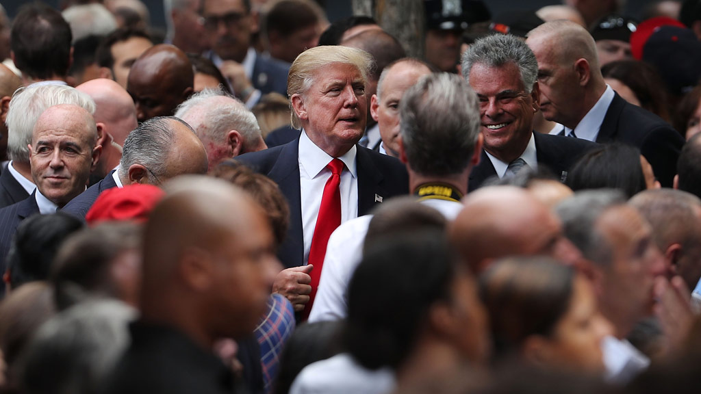 Donald Trump attended the commemorations in New York. (AFP)