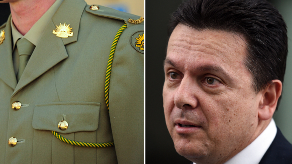Nick Xenophon outraged over defence uniforms made in China