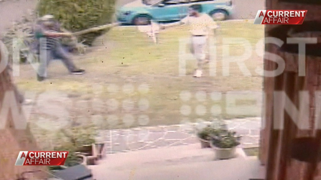 Three men are shown fighting the alleged attacker on the lawn. (9NEWS)