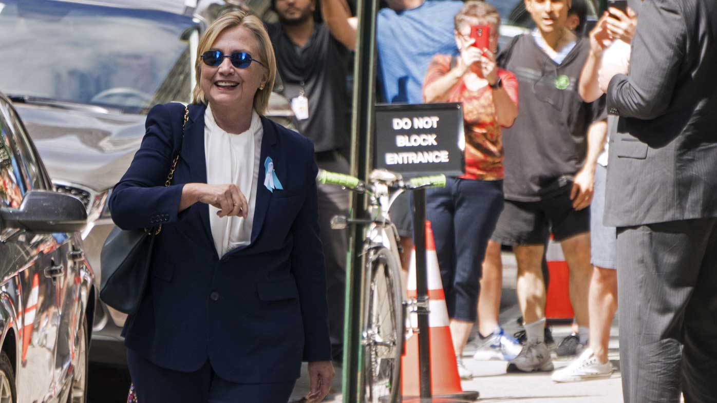 Hillary Clinton after her collapse in New York on Sunday. (AP)