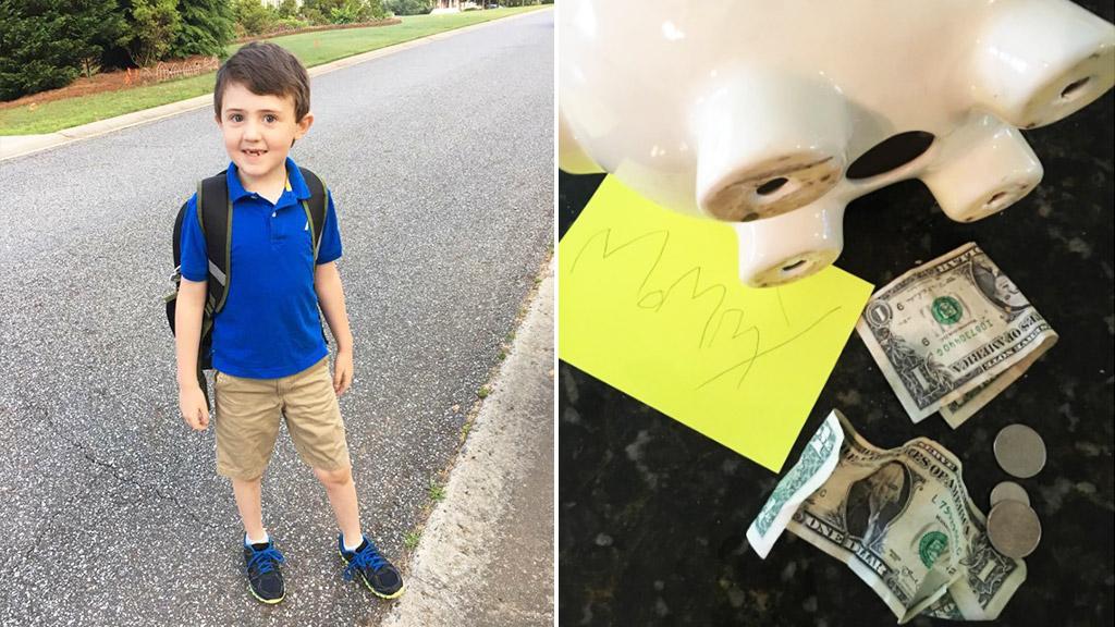 Boy empties piggy bank to help mum reach fundraising goal