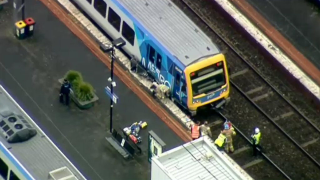 A car has been hit by a train at Surrey Hills station. (9NEWS)