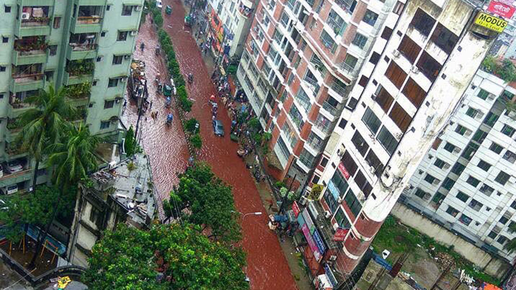 Streets in Dhaka turned red after Eid al-Adha celebrations. (Twitter)