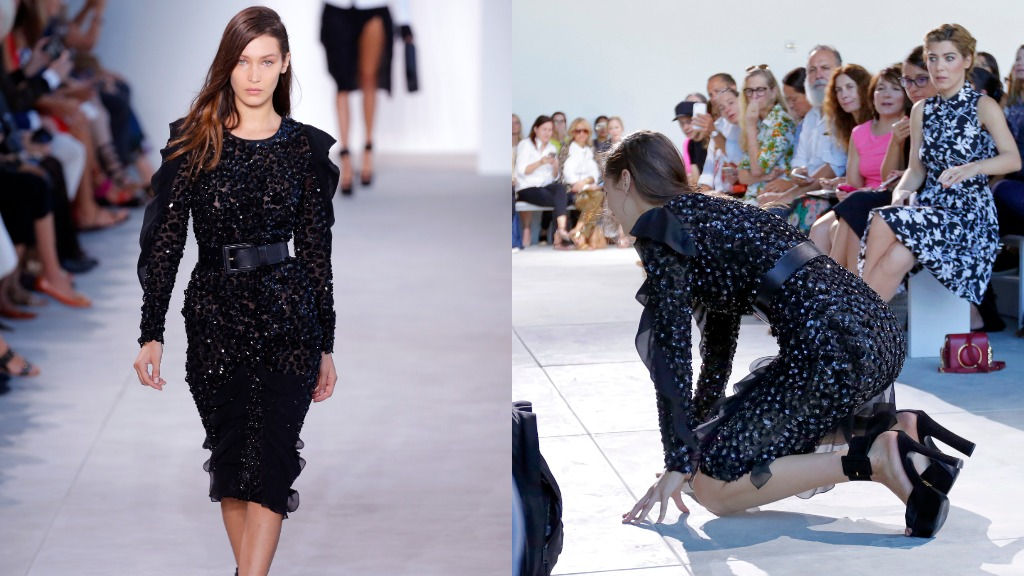 Supermodel Bella Hadid falls hard on catwalk in New York