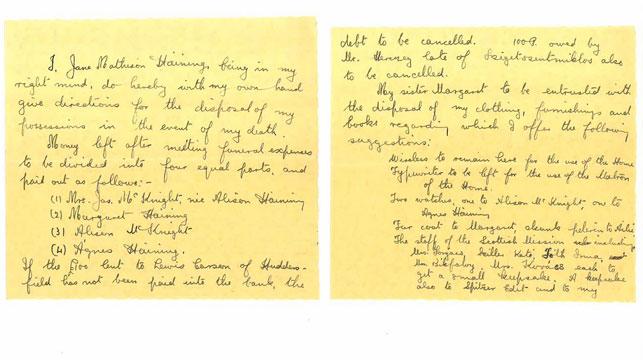 Jane Haining's hand written will. (Church of Scotland/Facebook)