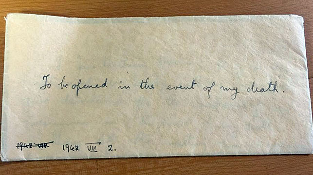 The envelope containing Jane Haining's will. (Church of Scotland/Facebook)