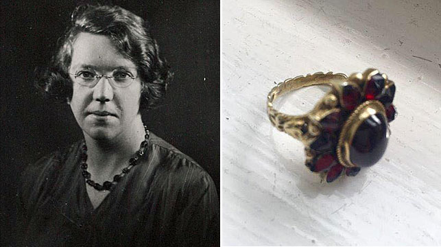 Jane Haining and a ring which once belonged to her. It was said to belong to Auschwitz prisoner 79467. (Church of Scotland/Facebook)