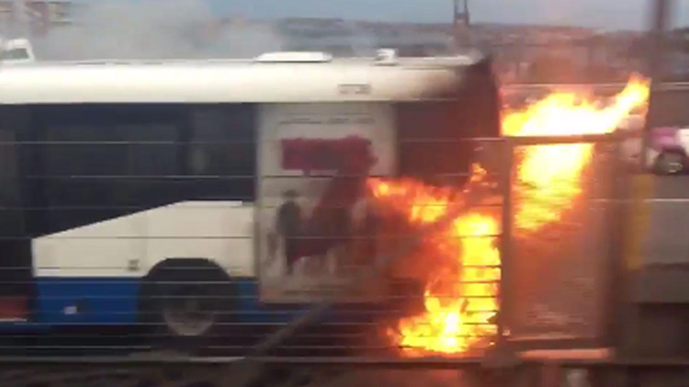 Harbour Bridge bus blaze causes chaos
