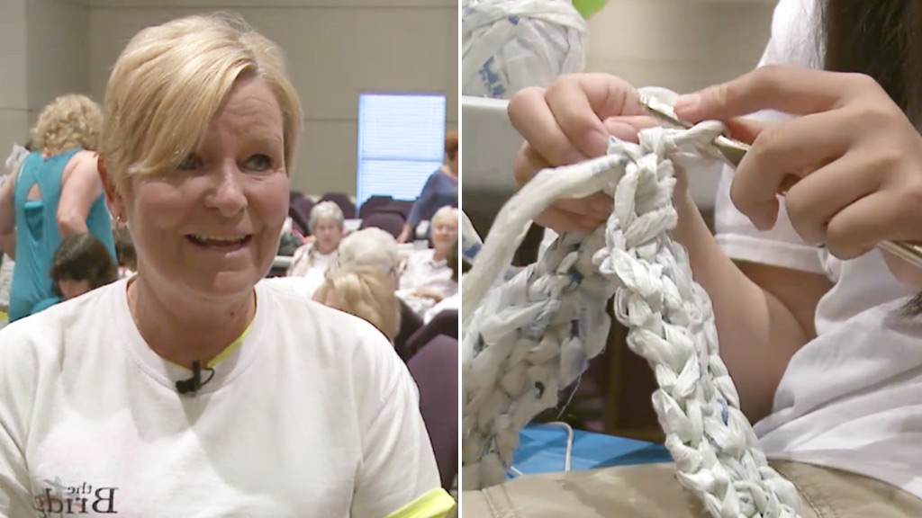 Women recycle plastic bags to knit sleeping mats for homeless