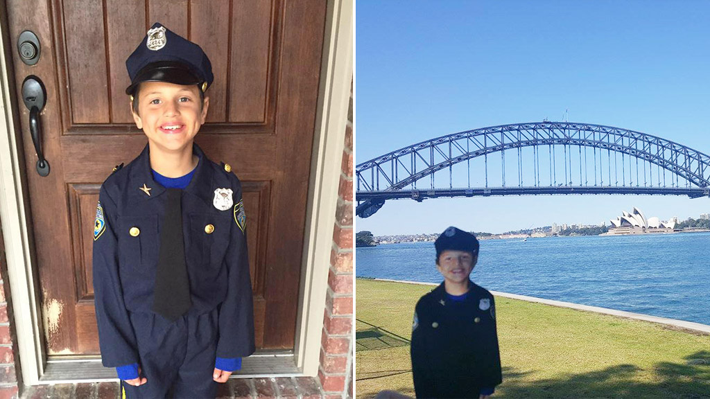 Boy with autism's dream of visiting police stations abroad brought to life with cardboard cutout