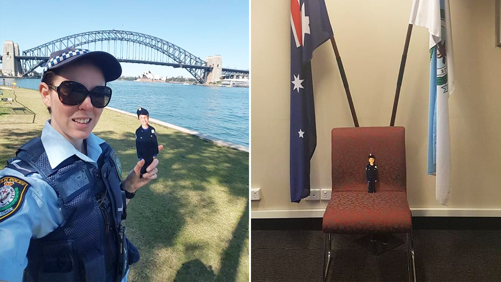 Flat Caleb with a NSW Police officer. (Facebook/Harbourside LAC – NSW Police Force)