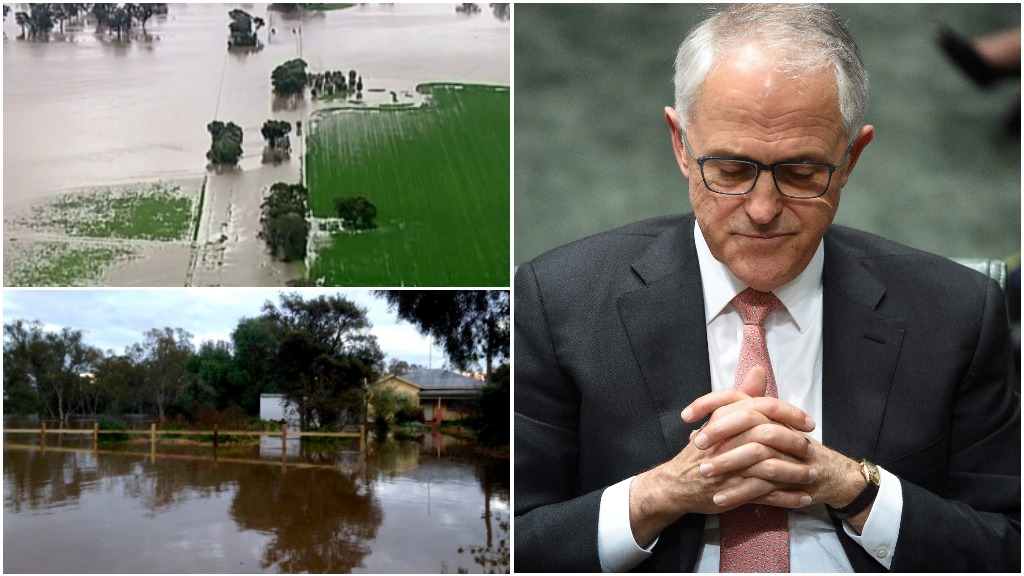 Victoria floods: PM Turnbull sends 'thoughts and prayers' to family of missing farmer
