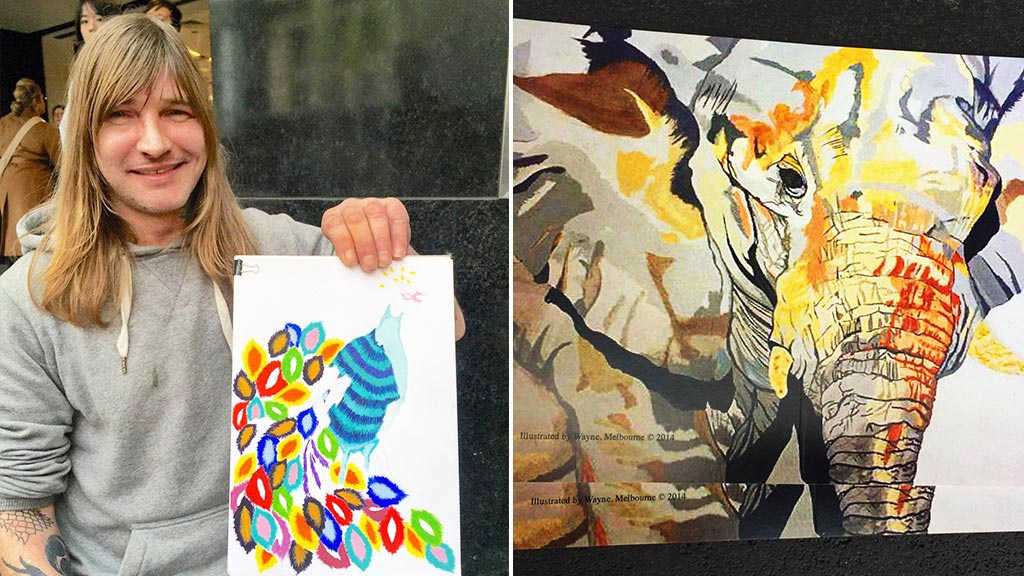 Homeless Melbourne man 'gives back' with his art