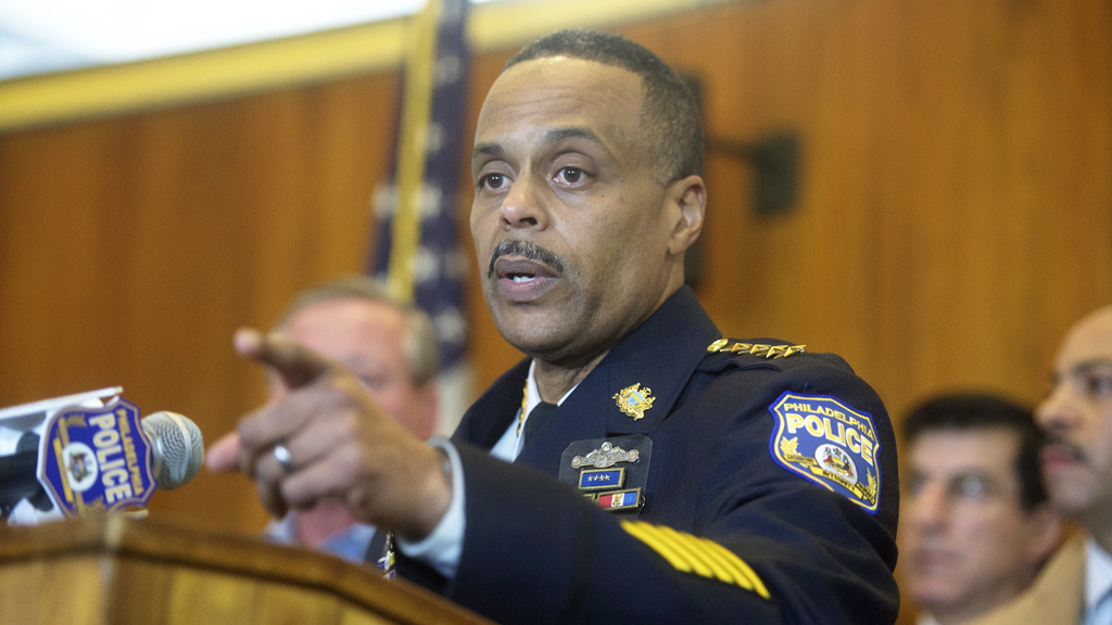 Philadelphia Police Commissioner Richard Ross addresses media at a press conference regarding the shooting of another local police officer, Jesse Hartnett, 33. (AFP)
