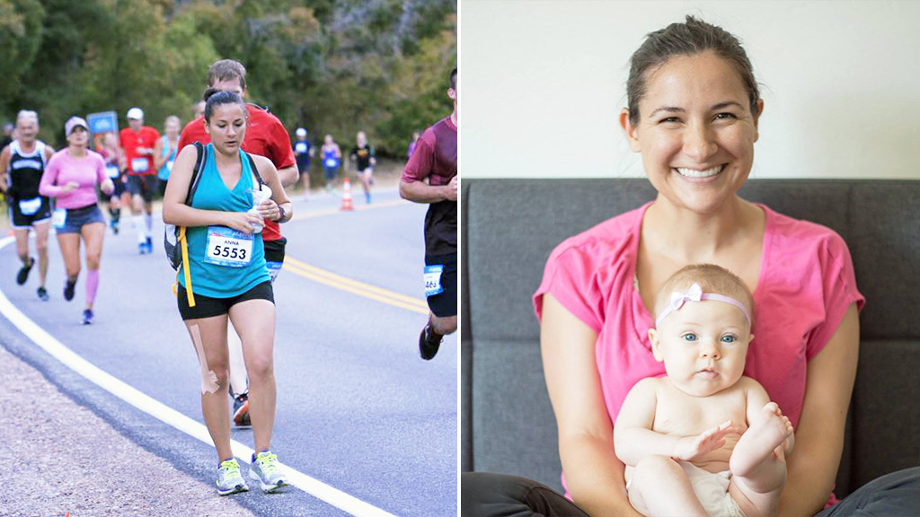 Multitasking mum expresses milk while running half-marathon