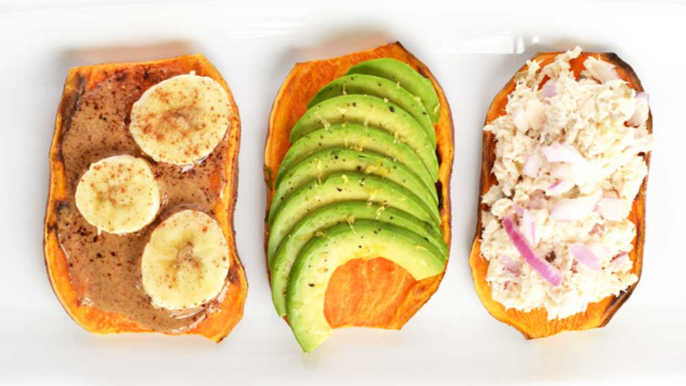Sweet potato toast with three toppings. Image: littlebitsof.com