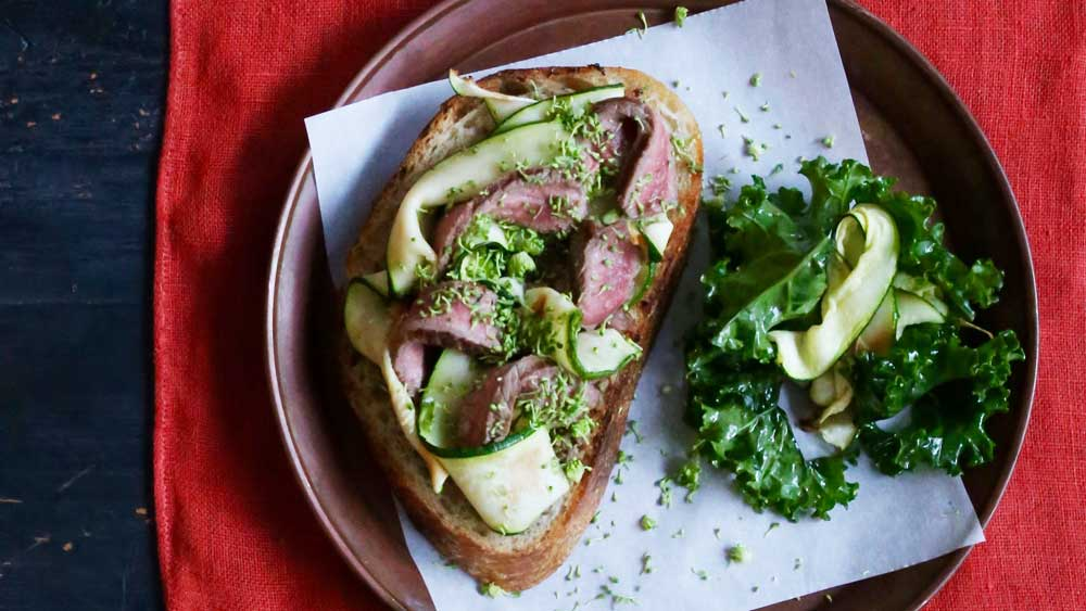 Steak sandwich with broccoli tapenade and zucchini. Courtesy of Jacqueline Alwill for BeefandLamb.com.au