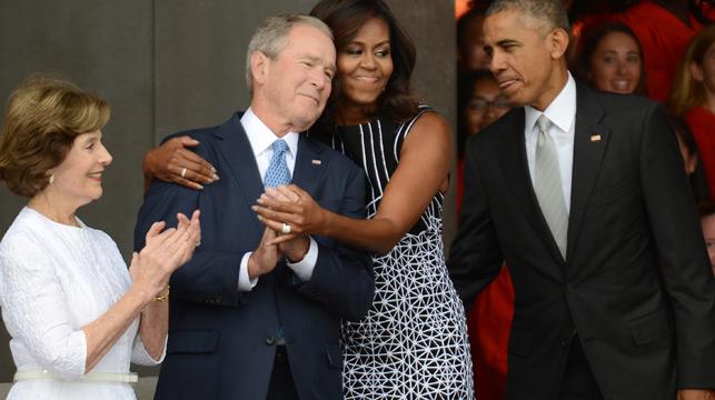 Michelle Obama, George W Bush share PDA in Washington DC