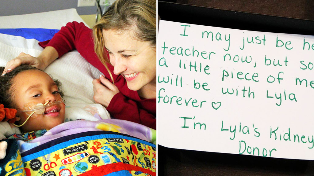 Dena Carreyn and daughter Lyla; the note from teacher Beth Battista. (Facebook/Dena Carreyn)