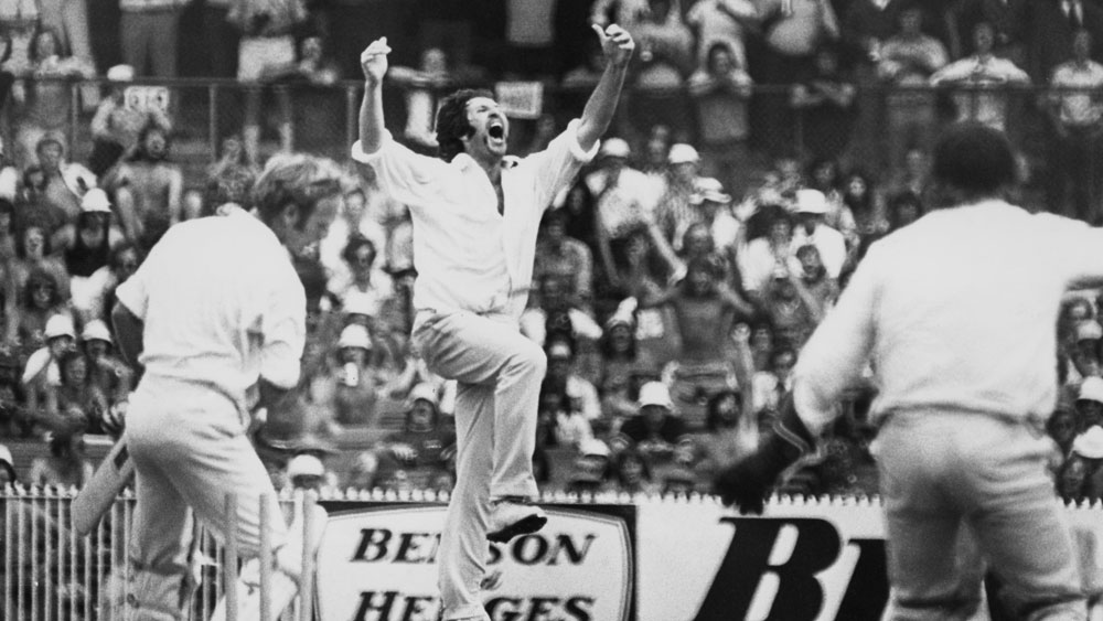 Max Walker celebrates after capturing a wicket against England at the MCG in 1975. (Getty)