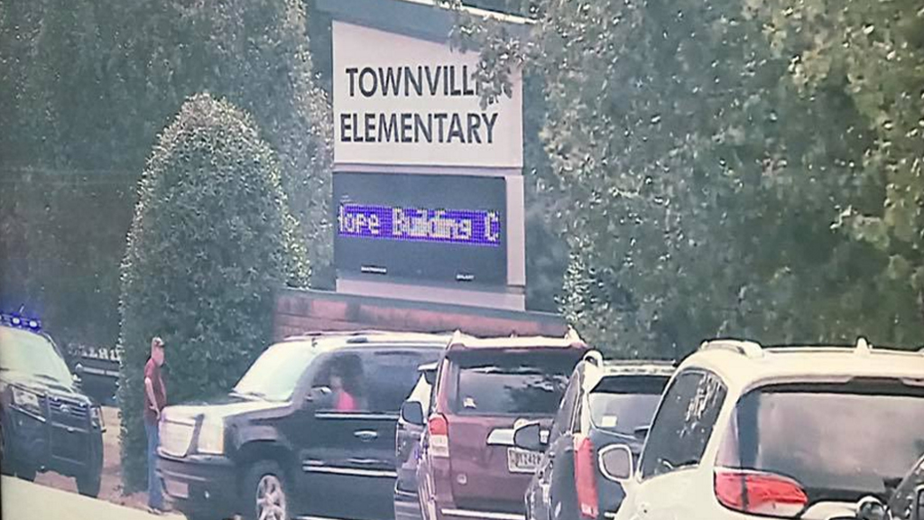 Authorities and other people at the Townville Elementary School. (WYFF News 4)