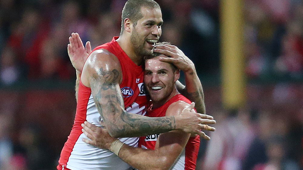 Lance Franklin and Ben McGlynn. (AAP)