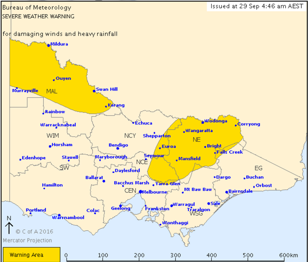 A severe weather warning has been issued for parts of Victoria. (Bureau of Meteorology)