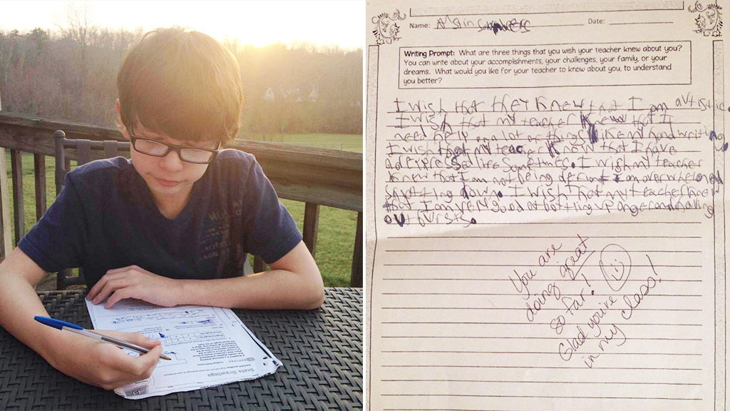 Boy writes heartfelt letter to teacher about his struggles with autism and ADHD