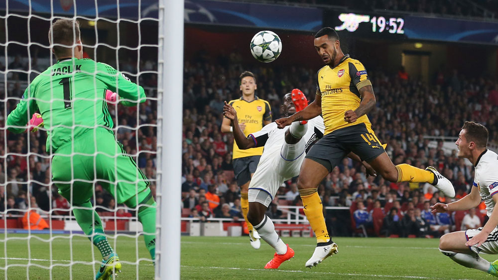 Arsenal attacker The Walcott scored twice against Basel in the Champions League. (AAP)