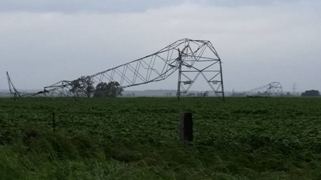 <p>South Australian Premier Jay Weatherill confirmed that 22 high voltage power lines have been ripped from the ground in the states north leaving 40,000 homes without power for the foreseeable future. (Twitter/@langcaulf)</p> <strong>Click through to see more pics of the storm's impact.</strong>