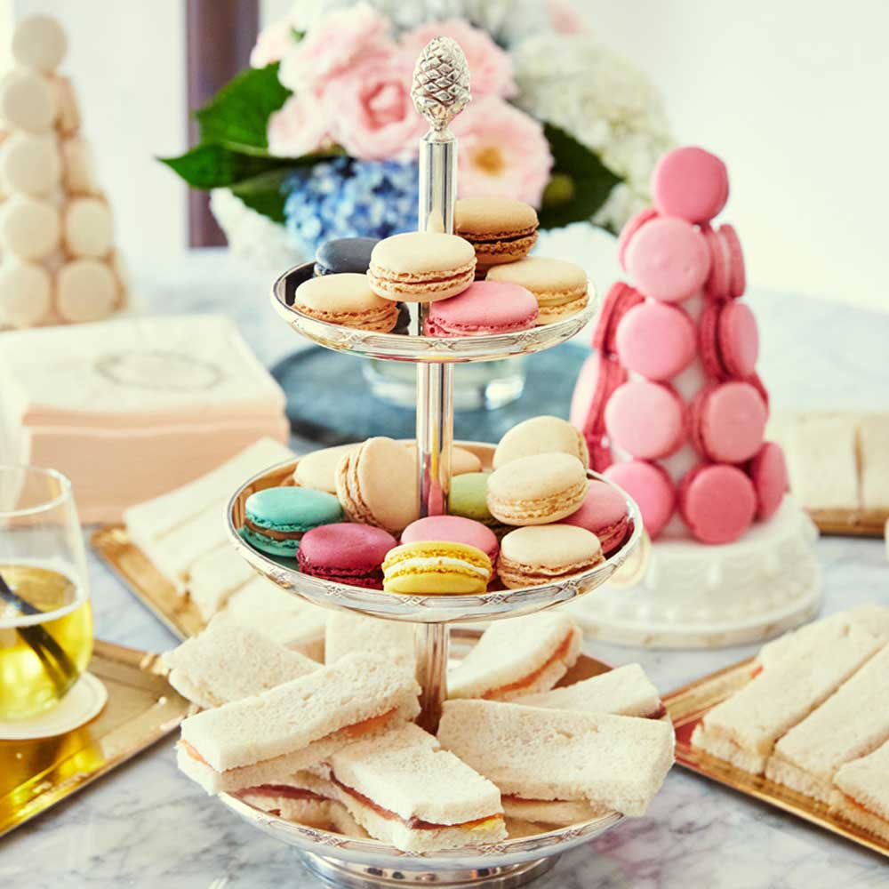 Laduree multi-tiered macaron platter, Melbourne site. Image: Supplied