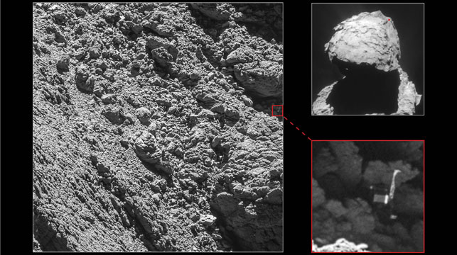 Released in July this year, the first photos of the Philae lander after it was crashed into the surface of the comet. (AFP)