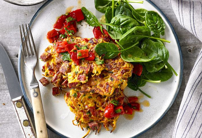 Shredded beef, sweet potato and herb fritters with capsicum relish