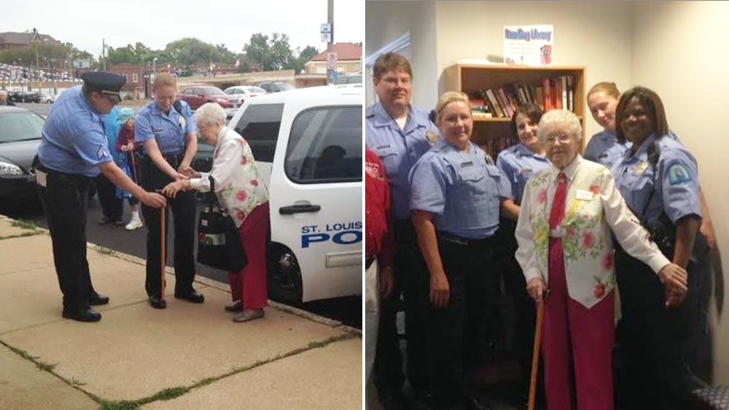 "Edie Simms, 102, has fulfilled her lifelong wish of being ""arrested"". (St Louis Police Department)"