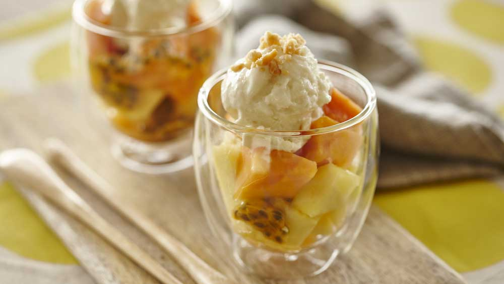 Macadamia and honey frozen yoghurt sundae