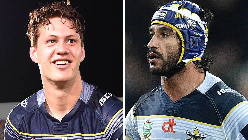 Kalyn Ponga and Johnathan Thurston. (AAP)