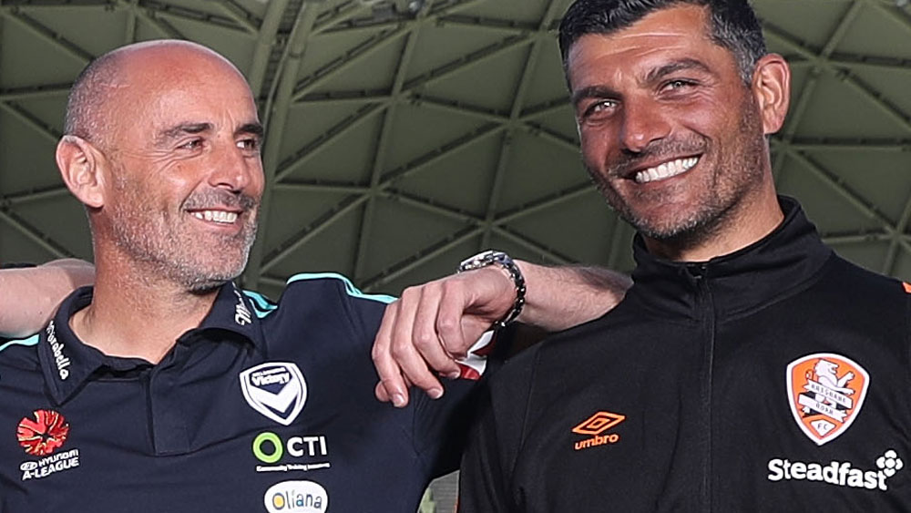 Rival coaches Kevin Muscat and John Aloisi. (Getty Images)