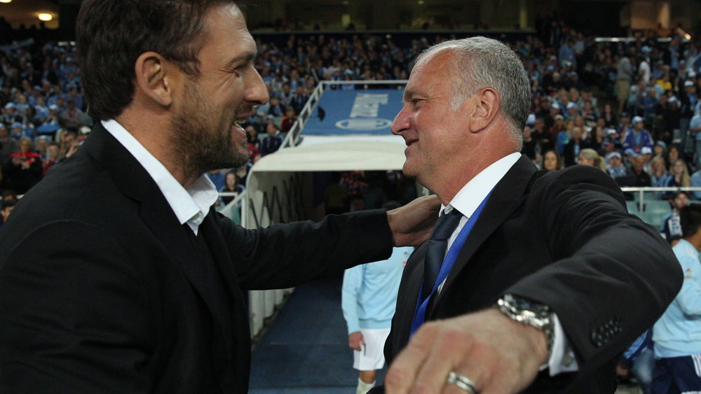 Rival coaches Tony Popovic and Graham Arnold. (Getty Images)