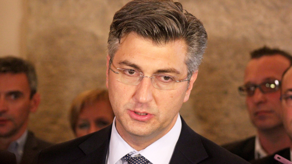 HDZ leader Andrej Plenkovic at a press conference on October 7. (AFP)