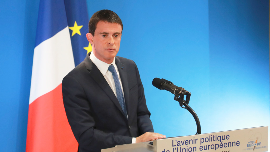 French Prime minister Manuel Valls delivers a speech during a conference on the political future of the European Union, on October 7. (AFP)