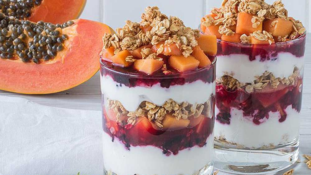 <strong>Red papaya and mixed berry parfaits</strong>