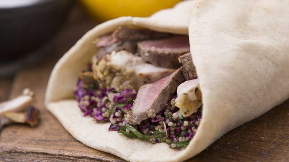 Manu's lamb and chicken souvlaki wrap for Obela
